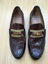 GUCCI MENS BROWN LEATHER BAMBOO HORSEBIT LEATHER LOAFERS SHOES UK 9 43 WEB CROC