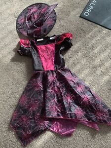 GIRLS HALLOWEEN WITCH FANCY DRESS COSTUME OUTFIT AGE 4-5YRS GREAT CONDITION