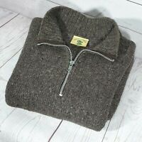 ⭐ Mens Pachamama 100% wool  Chunky handknit 1/2 zip jumper pullover size L - XL