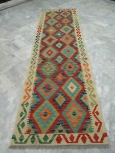 071 - SUPER QUALITY AFGHAN HAND WOVEN LAMB WOOL KILIM RUNNER  290 x 81 cm