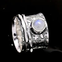 Rainbow Moonstone 925 Sterling Silver Meditation Statement Ring Spinner Ring s25