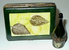 LIMOGES 2 BOX SET -CHAMPAGNE CASE- FLUTES & REMOVABLE BOTTLE INSIDE - GRAPE LEAF