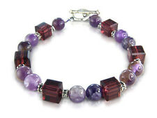 AMETHYST CRYSTAL GEMSTONE ROCOCO BRACELET Ladies Jewellery Gift NEW