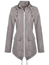 Ladies Plus Size Plain Mac Raincoats Waterproof Fishtail Parka Hooded Jackets