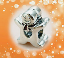 AUTHENTIC PANDORA SILVER BEAD CHARM enameled 792002 Gingerbread man Christmas