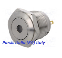 PULSANTE ANTIVANDALO STAGNO IP67 acciaio inox D= 16mm con PUNTO LED BLU 12V