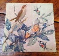 Vtg 40s Brownie Baby Pixie Fairy Angel Singing Bird Blank Greeting Card Unused