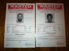 (2) AL-QAEDA TERRORIST CONSPIRATORS W/BIN LADEN FBI WANTED POSTERS *PLS OFFER*