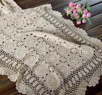 Vintage Lace Table Runner Hand Crochet Cotton Doilies Mat 50x90cm Floral Pattern