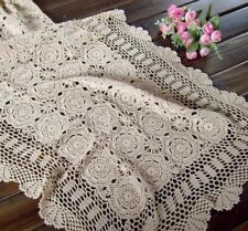 Vintage Lace Table Runner Hand Crochet Cotton Doilies Mat 50x90cm Floral Pattern