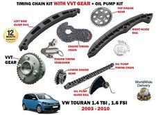 FOR VW VOLKSWAGEN TOURAN 1.4 TSI 1.6 FSI 2003-5/2010 TIMING CHAIN KIT + VVT GEAR