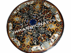 "36"" Black Marble Glorious Table Top Gemstone Inlaid Work Hallway Decor Gifts"