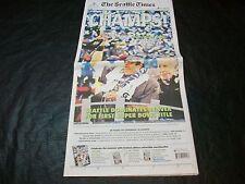 2014 Super Bowl XLVIII newspaper Seattle Times 2/3/14 Sea 43 def Den 8