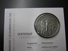 Elefant 1 OZ Elfenbeinküste 2016 1 Unze Auflage 1000 Stück Ivory Coast 99 Silber