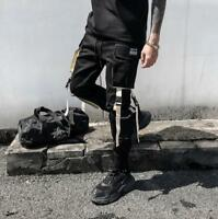 Gothic Mens Punk Jogger Pocket Harem Pants Youth Casual Black Skinny Trouser US