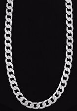 Curb Silver Plated Chain Men's Solid Cuban Link
