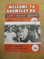 10/08/1977 Rugby League Programme: St Helens v Wigan [Challenge Match] (folded,