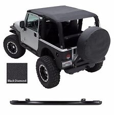1997-2006 Jeep Wrangler Safari Extended Bikini Top & Windshield Channel Black