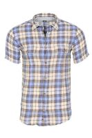 Eleventy Shirt Homme 40 Bleu  Lin  À carreaux