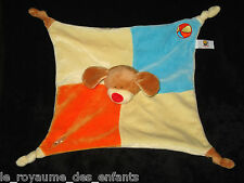 Doudou carré plat Chien Lascar Peluche ballon ours marron bleu orange beige