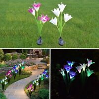 2 Pack Solar Panels Powered Lily Flower 4 LED Lights Outdoor Garden Yard Lamps