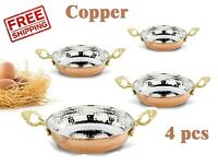 4 pcs x Copper Fry Pan Frying Set Sauces Fryer Skillet Roasting Hammered Saute