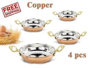4 pcs x Copper Fry Pan Frying Set Sauces Fryer Skillet Roasting Hammered Saute
