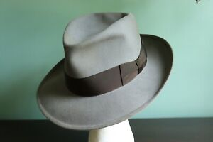 STUNNING, REGAL Vintage 40s-50s DOBBS FIFTEEN, Gray, 7 Long Oval fits to 7 1/8th