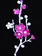 PINK JAPANESE MAPLE PLANT CHERRY BLOSSOM TREE BRANCH FLOWER PIN BROOCH JEWELRY