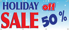BANNER HOLIDAY SALE 50% OFF RETAIL STORE SALE SIGNS Multi Color 96in x 36in
