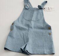 Zara Latzhose Kurz Shorts für Mädchen Overalls Blau Gr 110 116 128 152 UVP 25,95