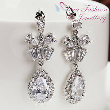 18K White Gold Plated Simulated Diamond Crown Teardrop Formal Earrings