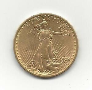 RARE 1908-D no motto  $20 GOLD SAINT GAUDEN DOUBLE EAGLE COIN