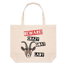 Méfiez-vous fou chèvre femmes Grand Plage SAC FOURRE-TOUT - Drôle Animal épaule