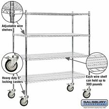 Salsbury Industries Mobile Wire 4 Adjustable Shelves Unit In Chrome New
