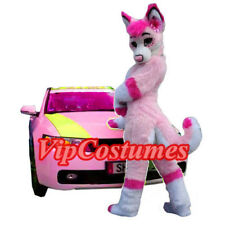 Deluxe Pink Husky Mascot Costume Adult Wolf Fox Dog Costume Long Fur Fancy Dress
