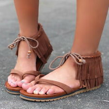 MIA Brown Genuine Suede LEATHER Flat Fringe Ankle Native Bootie Sandals M.I.A