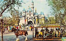 ANAHEIM CALFORNIA DISNEYLAND~SLEEPING BEAUTY CASTLE~HORSE TROLLEY POSTCARD 1960s