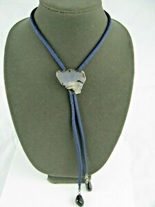 Vintage Bolo Tie With A Beautiful Multi-Colored Polished Translucent Stone