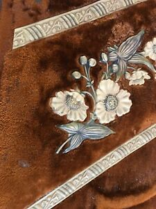 Lovely Victorian Sewing Box Floral Design Velvet Celluloid Enhancements