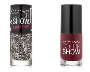 Maybelline New York Nail Polish Set of 2 Pink Splatter Top Coat & BeyondBurgundy