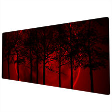 More details for 90x40cm extra large xxl mouse pad mat full desk red black moon trees nature
