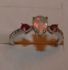 STUNNING PEAR CUT FACETED ETHIOPIAN OPAL , PINK TOURMALINE & ZIRCON RING SIZE 10