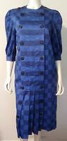 Vintage Albert Nipon Shirt Dress 5 Cotton Blue and Black Plaid SS Pleated Button