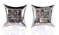 1CT Studs Earrings 14k White Gold Screw Back Natural Princess Cut Diamond