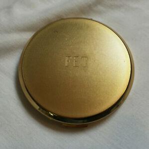 Vintage STRATTON Gold Colour FET Monogram Powder Compact UNUSED NEW