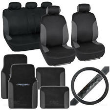 14Pc Car Seat Cover, Floor Mat & Steering Wheel Cover - Bucatti Black / Charcoal