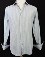 Banana Republic Fitted Men's Dress Shirt Woven Sz 15-15.5 M Blue Yellow Stripe