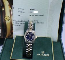 ROLEX LADIES DATEJUST 69163 STAINLESS & 18K GOLD DIAMOND DIAL
