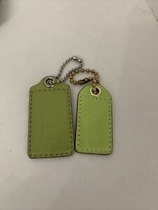 Coach Green Leather keychain key ring hangtag Lot Of 2